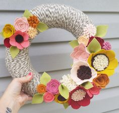 Fall wreath yarn wreath wildflower wreath year round by madymae