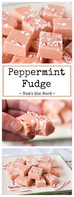 This Peppermint Fudge is creamy, flavorful and so easy to make! This takes 15 minutes to make and is melt in your mouth delicious! Perfect for Christmas! #dessert #treat #candy #fudge #easyfudge #creamyfudge #peppermint #peppermintfudge #christmasfudge #christmascandy #foodgift #numstheword #recipe