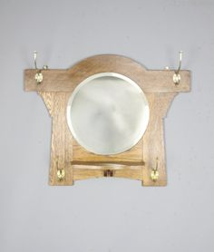 Arts & Crafts Oak Hall Mirror Coat Rack - Antiques Atlas Antique Coat Rack, Hall Mirrors, Mirror Plates, Beveled Glass, Arts And Crafts, Antiques, Home Decor, Antiquities, Antique