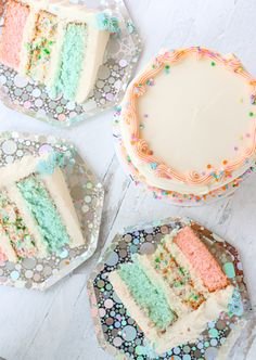 Our vanilla cake is now a lot more colorful! A layer of pink, confetti and blue vanilla cake, topped with vanilla buttercream. Pretty Cakes, Beautiful Cakes, Amazing Cakes, Cake Cookies, Cupcake Cakes, Cupcakes, Invitation Fete, Pastel Party, Just Cakes