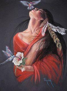 *Artist: Pamela MaCabe* native american art-woman with hummingbirds-pretty Native American Girls, Native American Pictures, Native American Beauty, American Indian Art, Art Indien, Arte Latina, Native American Spirituality, Native American Paintings, Native Art