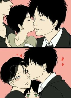 Eren x Levi with their love child <3