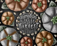 ♥ Pumpkin Kisses Harvest Wishes ♥  ♥ L I S T I N G ♥ Each image is originally hand drawn with chalk
