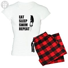 CafePress - Eat Sleep Swim Repeat Pajamas - Womens Novelty Cotton Pajama Set, Comfortable PJ Sleepwear - Eat sleep repeat t shirts (*Amazon Partner-Link)
