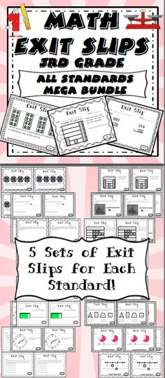 Math Exit Tickets - 3rd Grade Common Core Assessing student learning has never been easier! Exit slips are a quick formative assessment that students complete before they exit class. It is a great way tool for assessing student understanding and creating a data driven classroom. $