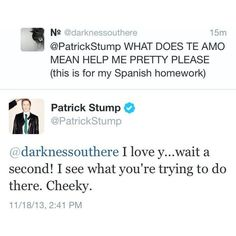 fob fall out boy Patrick Stump patrickstump patrick tweets ❤ liked on Polyvore featuring fall out boy, fob, text, tweets y bands