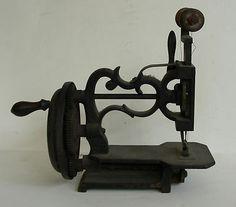 Antique Cast Iron Hand Crank Sewing Machine; Circa 1870's