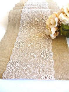 Rustic Wedding Table Runner Ivory Lace Table Runner Party Table Linens  Vintage Wedding Table Decor Burlap Table Runner