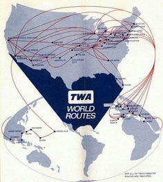 Considering it was called Trans World Airlines, it's Route Map indicates that TWA never even touched the Southern Hemisphere.