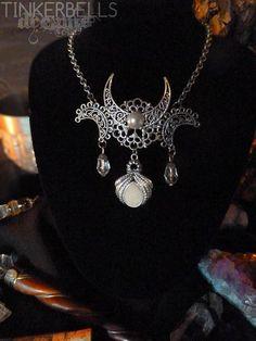 Halskette Pagan Wicca Mittelalter Gothic Antik-Silber weiß