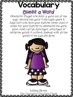 Fourth Grade Vocabulary Unit 1 by Ashley Benoit -The Teacher's Treasure Chest | Teachers Pay Teachers