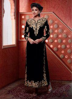 Urbane Black Zari Work Designer Suit