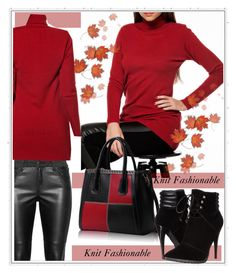 """Knit Fashionable-contest"" by sweet18569 ❤ liked on Polyvore featuring C Label, contest, redandblack, knit and autumnstyle"