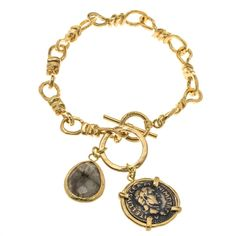 * Marlee's Designs * Batlana Collection Coin & Labradorite Charm Bracelet | Marlee's by Tappers