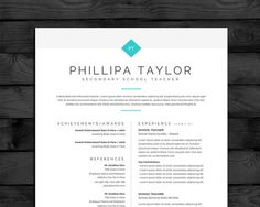 resume template cv template mac pc 3 page teacher cv free cover letter instant download word pages