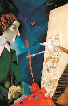 Marc Chagall, Self portrait with palette, 1917 on ArtStack #marc-chagall #art