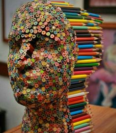 Color Blind: Colorful Pencil Sculpture By Molly Gambardella - Art Attack Simple Illustration, Watercolor Illustration, Inspiration Art, Art Abstrait, Art Plastique, Pencil Art, Oeuvre D'art, Sculpture Art, Wire Sculptures
