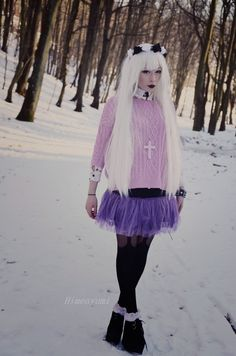 I would probably go for a faux leather skirt instead of a tutu. Looks cute on he… I would probably go for a faux leather skirt instead of a tutu. Looks cute on her but I so couldn't pull it off Pastel Goth Outfits, Pastel Punk, Pastel Goth Fashion, Kawaii Fashion, Grunge Fashion, Gothic Fashion, Dark Fashion, Creepy Cute Fashion, Outfits