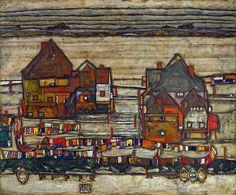 Egon Schiele, Case con bucato, 1914