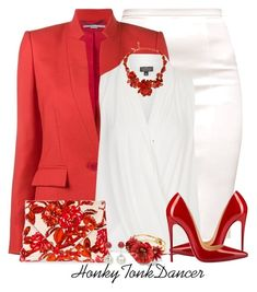 Red and White by honkytonkdancer on Polyvore featuring Topshop, STELLA McCARTNEY, Christian Louboutin, Dries Van Noten, Elizabeth Cole, Oscar de la Renta, DaVonna, redandwhite and officewear