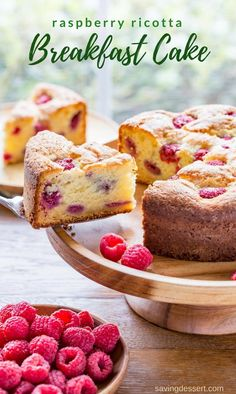 Raspberry Ricotta Breakfast Cake - A deliciously moist and fluffy, berry-streaked breakfast (coffee) cake perfect for dessert, breakfast, brunch, or afternoon tea. www.savingdessert.com #savingroomfordessert #raspberry #ricotta #breakfast #brunch #breakfastcake #coffeecake #raspberrycake #dessert #mothersday #easterbrunch