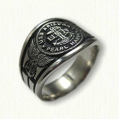 Sterling Silver USS Arizona Pearl Harbor Signet Ring- Shown in Sterling Silver with Black Antiquing