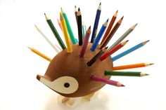 Hedgehog Pencil Holder - DH can carve a cute animal and bore some holes for me