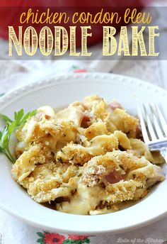 This Chicken Cordon Bleu Noodle Bake recipe makes an easy, comforting casserole dinner any day of the week. It's a delicious one-pot meal the whole family will love!