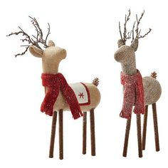 Martha Stewart Living? Jute Deer Duo - Set of 2 (€51) ❤ liked on Polyvore featuring home, home decor, holiday decorations, christmas deer figurines, holiday figurines, santa claus figurine and holiday decor