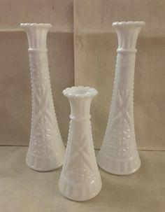 Milk Jug Crafts, Red Shutters, Milk Glass Vase, Wedding Vases, Water Stains, Vintage Vases, White Vases, Anchor Hocking, Glass Collection
