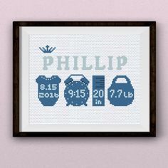 Birth sampler for boy ''Little Prince'' cross stitch pattern pdf Celebrate the announcement of your little prince with this stylish baby cross stitch pattern. You can embroider the baby name, weight, time and date. #newbornbaby #newborn #giftideas #babyboy #blue #crossstitch #patterns #pdf #SmartCrossStitch