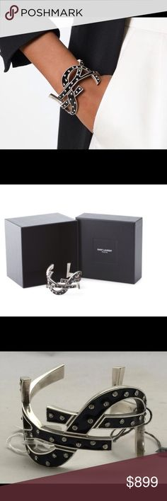 HP✨YSL SAINT LAURENT Signature Cuff Bracelet New STUNNING Signature Crystal Cuff from YSL!  Brand new! Original retail $1595 plus tax. gift box and pouch included brass, crystal embellished Saint Laurent Jewelry Bracelets