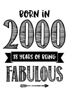 Hippe kaart met de tekst 'Born in 2000 18 years of being fabulous'. Achtergrondkleuren zijn aanpasbaar. Kan ook als uitnodiging gebruikt worden!