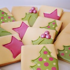 Love this color scheme for Christmas cookies by Anita at Flying Flour Baking Co.