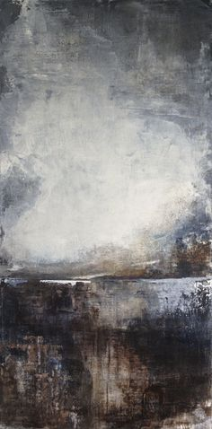 """Abstract Acrylic & Mixed Media - 18 x 36 - from the """"Sourced"""" Series ~ Origin - Artist: Pauline Jans"""