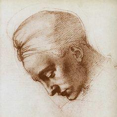 Miguel Ángel Buonarroti-Estudio de la cabeza de Leda