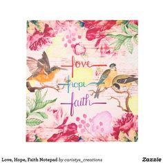 Love, Hope, Faith Notepad Fancy Notebooks, Custom Notebooks, Ceramic Tile Crafts, Floral Backdrop, Stationery Paper, French Country Decorating, Office Gifts, Keepsake Boxes, Dog Design