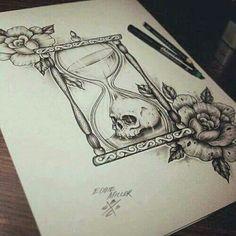 Skull in hourglass