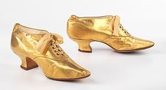 Gold leather evening shoes, ca. 1891