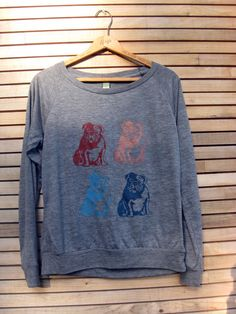 a collection of Bulldogs Shirt, Slouchy Pullover, Bulldog Sweater, S,M,L,XL. $34.00, via Etsy.