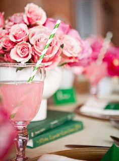 pink and green table settings (book club, shower, brunch, or mothers day)