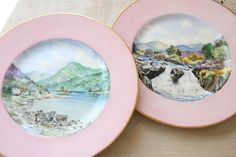 Pink Rimmed Minton Plates with Scottish Landscape, Loch Lomond, Luss Scotland, B. F. Climie, 1950s, Romantic, Minton China, One-of-a-kind by $145.00 WeeklyTreasureHunt on Etsy