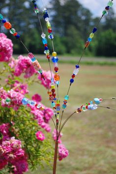 Beaded Blossoms -- Garden Bead Art -  Wire Suncatcher