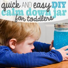 DIY Calm Down Jar for Toddlers. Make a Calm down jar. Glitter calm down jar. Easy DIY Calm Down Jar for kids.