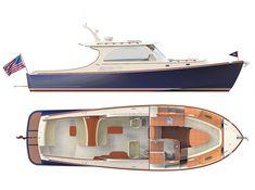 PICNIC BOAT 40 | Hinckley Yachts Hinckley Boat, Hinckley Yachts, Wooden Boat Plans, Wooden Boats, Yacht Design, Boat Design, Motorcycle Campers, Small Yachts, Lobster Boat