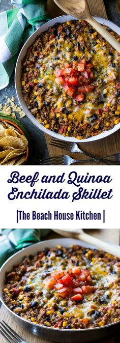 Beef and Quinoa Enchilada Skillet | The Beach House Kitchen