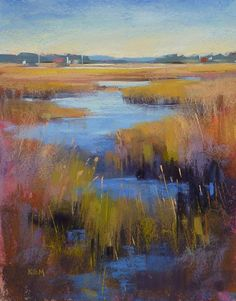 painting of a marsh | Autumn Marsh Landscape Original Fine ART by KarenMargulisFineArt, $165 ...