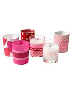 Decorative candles (these are Valentine's edition but can be made any time of the year).  Very simple to make, all you need are votives, assorted paper, Washi tape, ribbon and double sided tape.  Wrap the paper around votive for sizing, cut to necessary length.  Adhere strips of paper to votive w/ double sided tape.  Wrap some with just paper and layer others w/ ribbon and tape. Homemade Valentines, Valentine Day Crafts, Valentines Day Party, Happy Valentines Day, Holiday Crafts, Funny Valentine, Valentine Ideas, Holiday Fun, Happy Hearts Day
