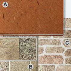 Photo: Andrew McCaul   thisoldhouse.com   from All About Fiber-Cement Siding;  Sold in: Panels  Get the color and texture of masonry without the need for a mason or worries about cracking and delamination in the future.   Shown: A. SandStone II in Sedona. B. QuarryStone in Speckled Brown. C. FieldStone in Bronze Mist. All 18 inches by 6 feet, about $4 per square foot; Nichiha end.