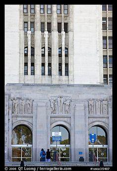 Art Deco facade of the Los Angeles County Hospital. Los Angeles, California, USA